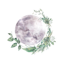 Watercolor Moon And Floral Wre...