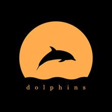 Dolphin And Moon Logo Vector I...