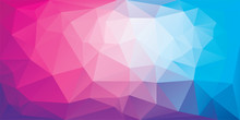 Polygonal Background Of Triangles In Pink And Blue Colors. Triangular Banner Template. Low Poly Mesh Gradient In Origami Style. Vector Eps8 Illustration.