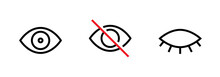 Privacy Icon, Abstract Eye, Crossed And Closed Eye. Editable Line Set.