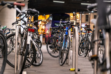 Bicycles In A Parking Rack At ...