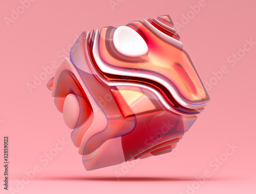 Fotografie, Obraz 3d render of abstract art 3d cube or box in organic curve wavy round smooth and