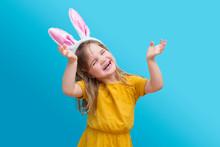 Cheerful Child Girl Wearing Bu...