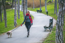 Woman Taking Her Dog For A Walk