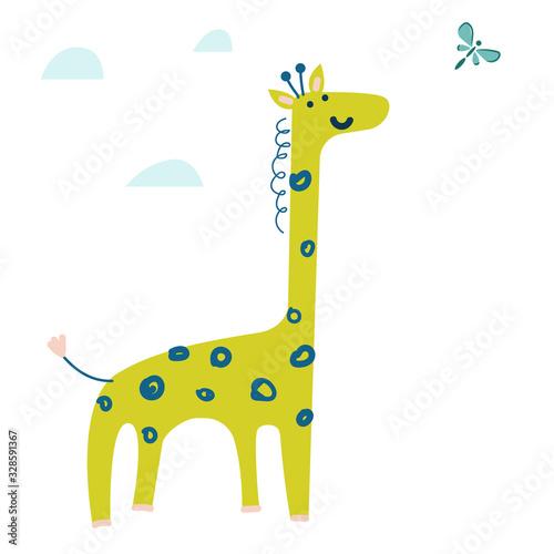 Photo Cute cartoon giraffe vector illustration. Hand drawn wild animal.