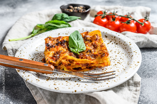 Tasty portion of Italian meat lasagna with melted mozzarella. Gray background. Top view © Vladimir