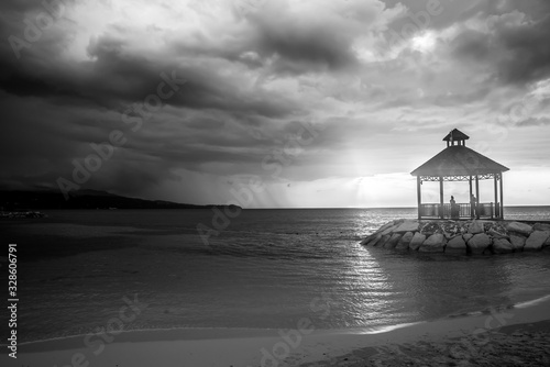 Black and White Sunset in Jamaica