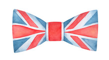 Water Color Illustration Of Classic Bow Tie With British Flag Pattern. Hand Painted Watercolour Graphic Drawing, Cut Out Clipart Element For Creative Design, Invitation, Poster, Banner, Greeting Card.