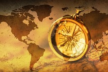 Decorative Brass Antique Compass On A Map Background