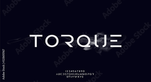 Photo Torque, an abstract technology futuristic scifi alphabet font