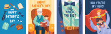 Set Of Four Fathers Day Postca...