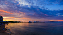 Lake Huron In Sun Set From Mackinaw City