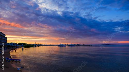 Lake Huron in sun set from Mackinaw city Canvas Print