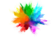 Colorful Rainbow Holi Paint Color Powder Explosion Isolated On White Wide Panorama Background
