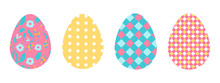 Vector Set Of Easter Eggs In F...