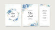 Elegant wedding invitation set with roses blue watercolor and leaves golden