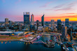 Perth, Australia - Mar 04 2020: The Perth City skyline during dawn. Perth is the capital of Western Australia