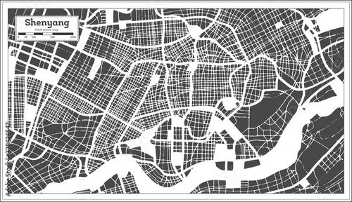 Fotografie, Tablou Shenyang China City Map in Retro Style. Outline Map.