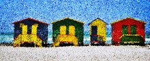 Landscape With Colorful Changing Huts On The Beach In Muizenberg