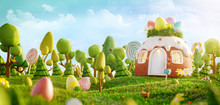 Unusual Colorful Easter 3d Ill...