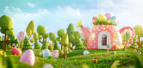 Unusual colorful easter 3d illustration