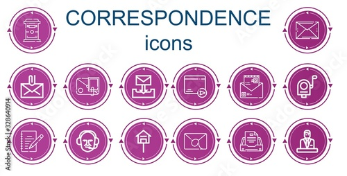 Foto Editable 14 correspondence icons for web and mobile