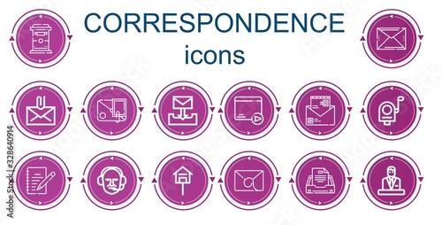 Photo Editable 14 correspondence icons for web and mobile
