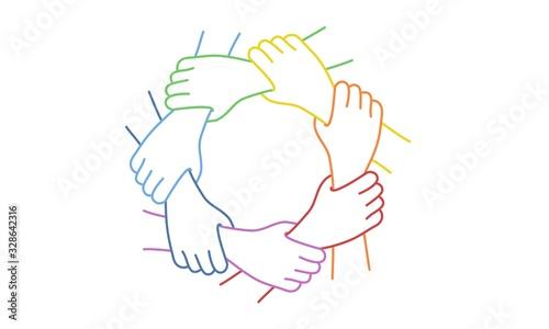Teamwork. Seven United Hands. Line drawing vector illustration.