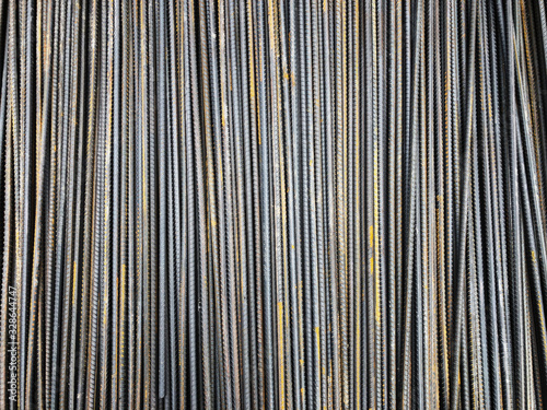 Steel reinforcement rebars tied with metal wire at the outdoor warehouse Canvas Print