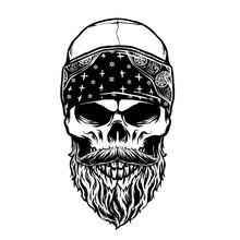 Vector Of Bearded Skull Head W...