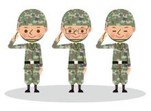 笑顔で敬礼する自衛官・軍人(複数人・3人)