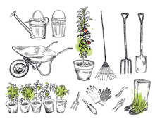 Gardening Set With Watercolor ...