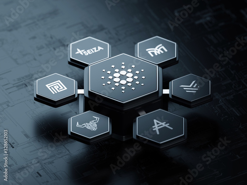 Cardano open source cryptocurrency blockchain project ecosystem - 3D render Canvas Print