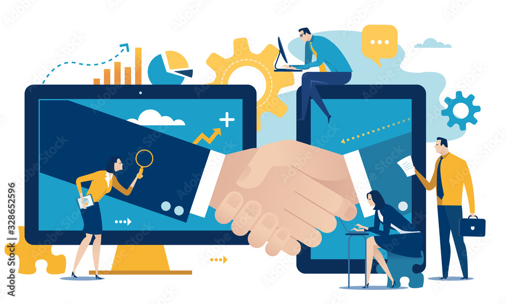 Fototapeta Contract. Team and hand shake over network. Business vector illustration