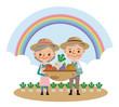 収穫した野菜を持つ農家の老夫婦(背景あり)