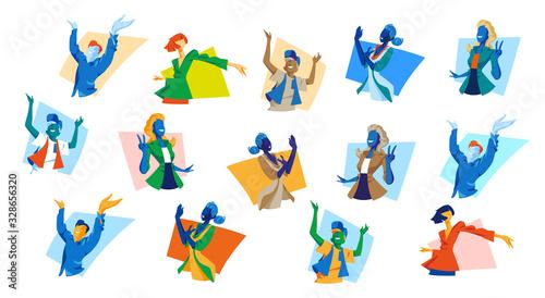 Photo Collezione di giovani donne e uomini felici che fanno i gesti della felicita, vi