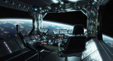 Spaceship Grunge Interior Control Room With View On Space 3D Rendering Elements Of This Image Furnished By NASA