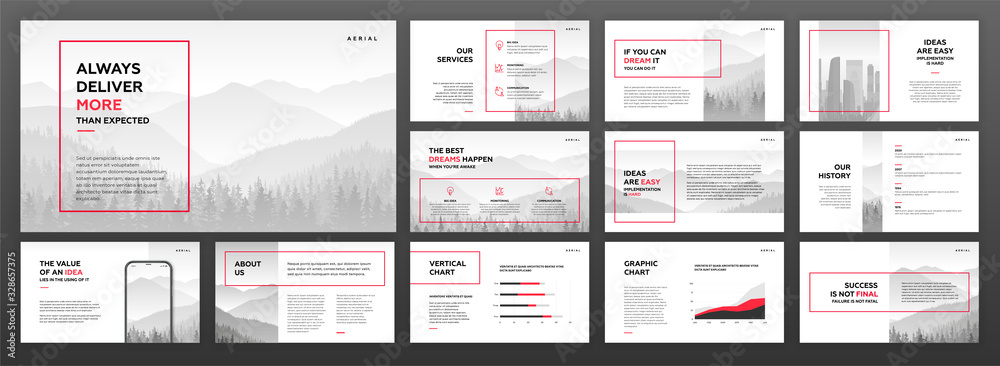 Fototapeta Modern powerpoint presentation templates set. Use for modern keynote presentation background, brochure design, website slider, landing page, annual report, company profile.