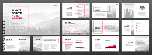 Fototapeta Modern powerpoint presentation templates set. Use for modern keynote presentation background, brochure design, website slider, landing page, annual report, company profile. obraz