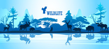 Wildlife Vector Background Wit...