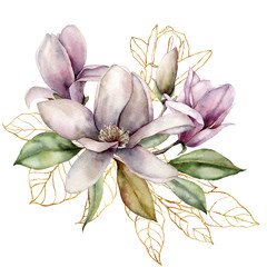 Panel Szklany Do jadalni Watercolor bouquet with golden branch, magnolias and leaves. Hand painted floral card with flowers isolated on white background. Spring line art illustration for design, print, fabric or background.