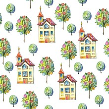 Seamless Pattern With Houses A...