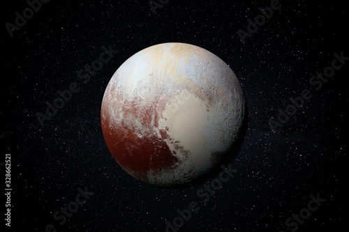 фотография Planet Pluto in the Starry Sky of Solar System in Space