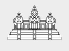 Angkor Wat Temple In Cambodia Flag Vector Illustration Isolated On Gray Background