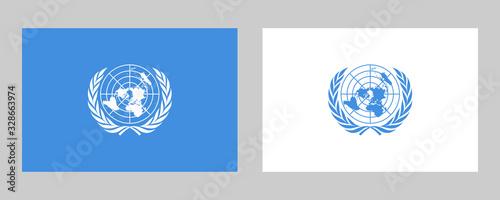 United Nations Official Flag Vector Illustration Fototapet