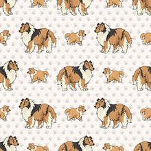 Hand Drawn Cute Rough Collie Breed Dog And Puppy Seamless Vector Pattern. Purebred Pedigree Puppy Domestic Dog On Paw Background. Dog Lover Sheepdog Pet All Over Print. Kennel Pooch. EPS 10.