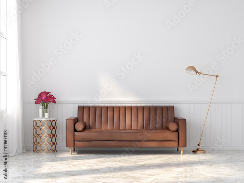 obraz dibond Orange-brown vintage leather sofa in a classic white room 3d render With marble floors Decorate the golden table and lamp There is a large window of sunlight entering the room.