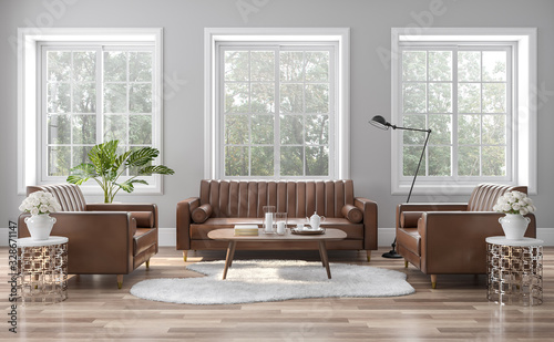 Obraz The vintage style living room is decorated with brown-orange leather sofas 3D render. The rooms have wooden floors and gray walls, with white windows offering natural views. - fototapety do salonu