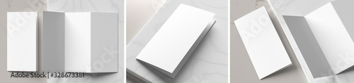 Fototapeta Trifold brochure mock up isolated on white marble background. Trifold brochure mock up rendered with three different variations. 3D illustration. obraz