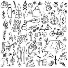 Doodle Style Camping Set. Camp...